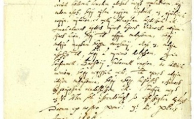 A sample of handwriting by Elizabeth Bathory