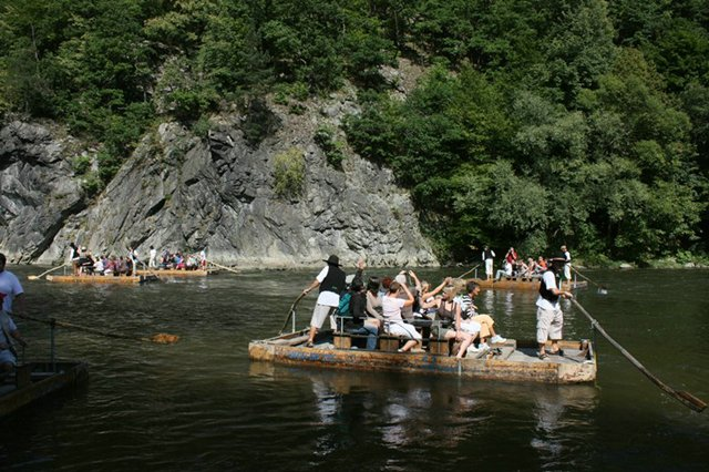 Traditional rafts on the River Váh